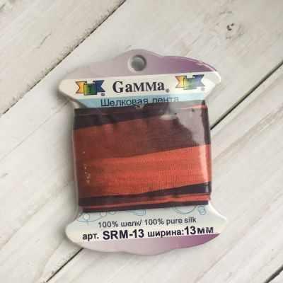 Ленты Gamma SRM-13 Лента декоративная Gamma шелковая M120 красный/т.бордовый платье oodji ultra цвет красный белый 14001071 13 46148 4512s размер xs 42 170