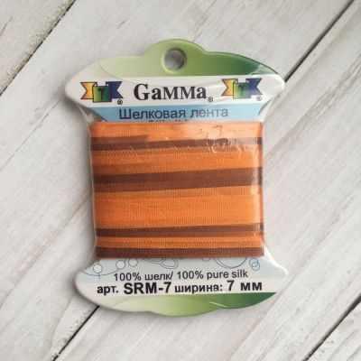 Ленты Gamma SRM-7 7 Лента декоративная Gamma шелковая M136 яр.оранжевый/коричневый ленты gamma srm 7 7 лента декоративная gamma шелковая m136 яр оранжевый коричневый