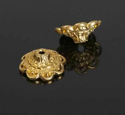2328117 Шапочки для бусин, цвет черненое золото