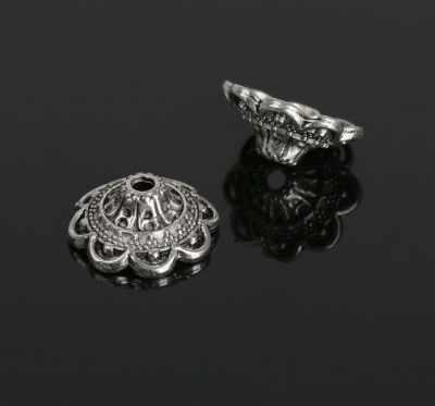 2328118 Шапочки для бусин, цвет черненое серебро