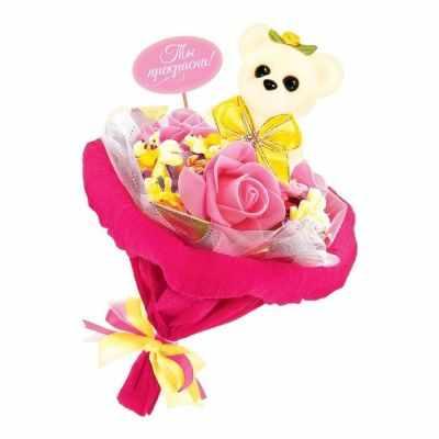 1675791 Набор для создания букета из игрушек и цветов Мишутка