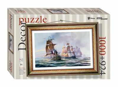 98026 Мозаика  puzzle  1000 + рамка  Морской бой  (Пластиковый пазл) - Пазлы