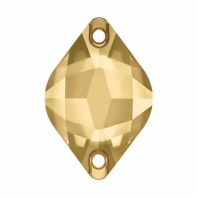 Стразы SWAROVSKI 3211 пришив. Сваровски 14 х 9 мм, золото (light colorado topaz 246)