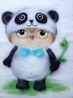 1415547 Набор для создания картины  Сова в костюме панды  - Товары для валяния (фелтинга)