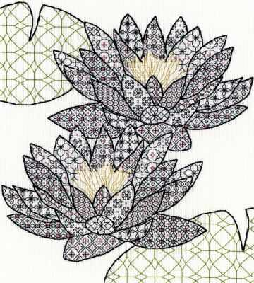 XBW3 Blackwork Water Lily (BT) - Наборы для вышивания «Bothy Threads»