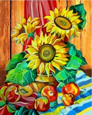 Раскраски по номерам Color Kit RA016 Натюрморт с подсолнухами