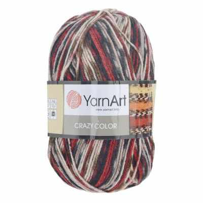 Пряжа YarnArt Crazy Color Цвет.156 Коричнево-красный