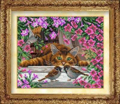 1019  Искушение кота Василия (РИ) - Наборы для вышивания «Русская искусница»