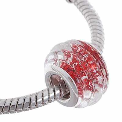 1190615 Бусинка, цвет серебристо-красный