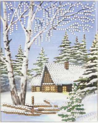 Основа для вышивания с нанесённым рисунком Искусница ББ-043 Зима - схема для вышивания (Искусница) набор для вышивания искусница м8166 черный кот