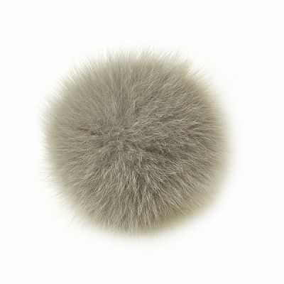 TBY.PNP029 Помпон натуральный Песец 12см цв.серый