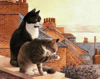 Ag336 - Коты на крыше  - мозаика