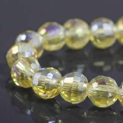 УТ0030932 Бусины стекло гальван гран АВ-цв Круглые 8мм Желтый - Бусины