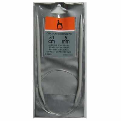 Инструмент для вязания PONY 50211 Спицы круговые 5,00 мм/ 80 см, алюминий