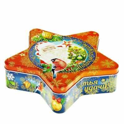 499536 Подарочная банка жестяная-звезда  Дед Мороз  - Подарочные коробки