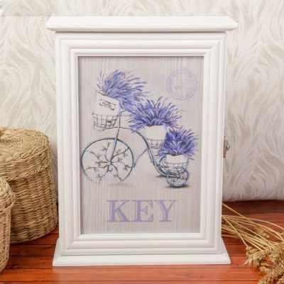 """2541151 Ключница дерево """"Горшочки с лавандой на велосипеде"""""""