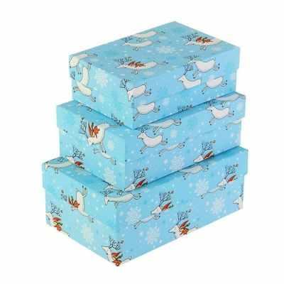 2834271 Набор коробок 3в1  Олени НГ  - Подарочные коробки