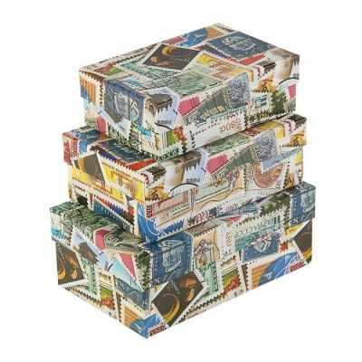 2928629 Набор коробок 3в1  Марки почтовые  - Подарочные коробки