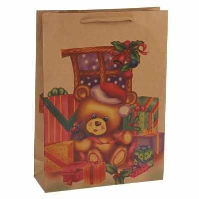 1535897 Пакет крафт Новогодний мишка