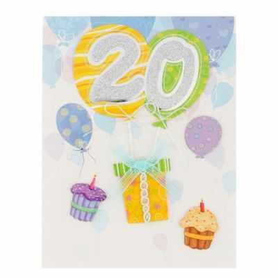 Открытка Русский дизайн 2868565 С Днём Рождения! 20 подарки, шары. ручная работа