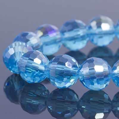 УТ0030919 Бусины стекло гальван гран АВ-цв Круглые 8мм Небесно-голубой - Бусины