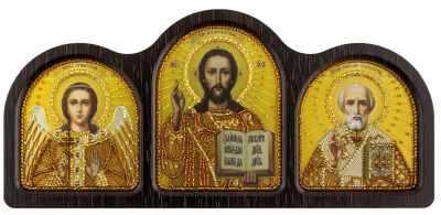 СЕ 6003 Триптих настольный золото (Ангел Хранитель, Спаситель, Николай Чудотворец)