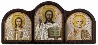 Купить со скидкой СЕ 6004 Триптих настольный серебро (Ангел Хранитель, Спаситель, Николай Чудотворец)