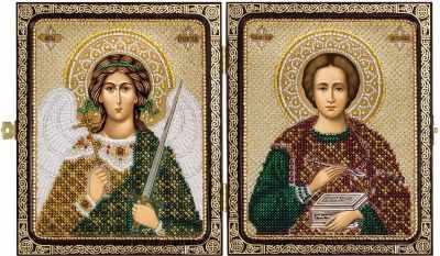 Набор для вышивания иконы Nova Sloboda СЕ 7203 Св. Вмч. Целитель Пантелеймон и Ангел Хранитель набор для вышивания иконы вышиваем бисером l 68 святой пантелеймон целитель
