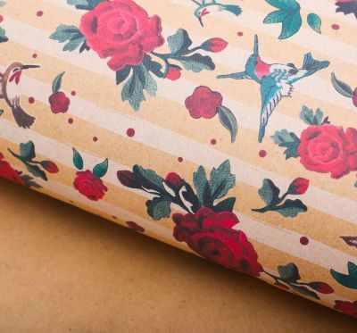 2791557 Бумага упаковочная крафт Колибри и розы