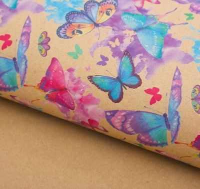 2791562 Бумага упаковочная крафт Акварельные бабочки