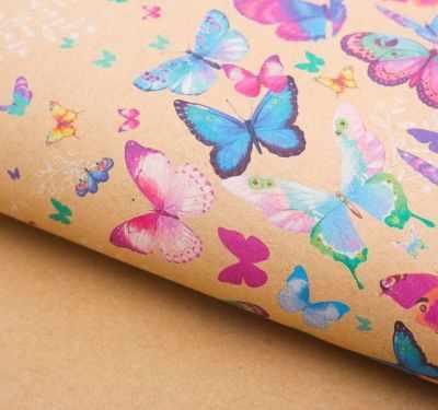 2791565 Бумага упаковочная крафт Хоровод бабочек