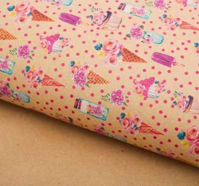 2791567 Бумага упаковочная крафт Цветочный рожок