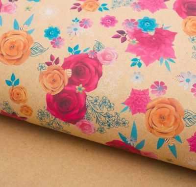 2791568 Бумага упаковочная крафт Цветочный декор