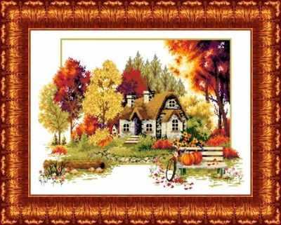 КТКН 120 (р) Осенний домик набор (Каролинка) - Наборы для вышивания «Каролинка»