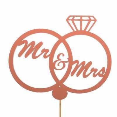 Украшение для выпечки - 2885889 Топпер «Свадебные кольца Mr&Mrs», розовый