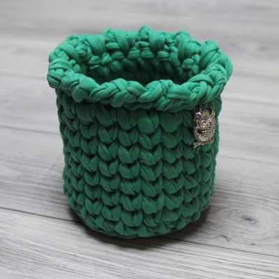 Шкатулка - Вязаная шкатулка зеленая Сова