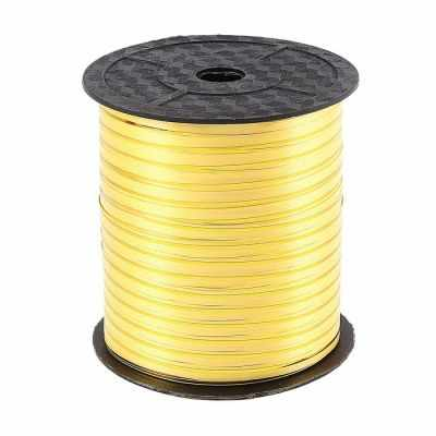818657 Лента упаковочная жёлтая с золотой полосой