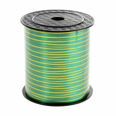 818661 Лента упаковочная зеленая с золотой полосой