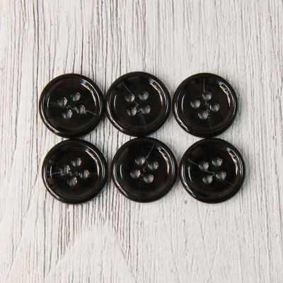 EL 0013 24 Пуговицы костюмные с проколами-1 № А008 черный, 6 шт