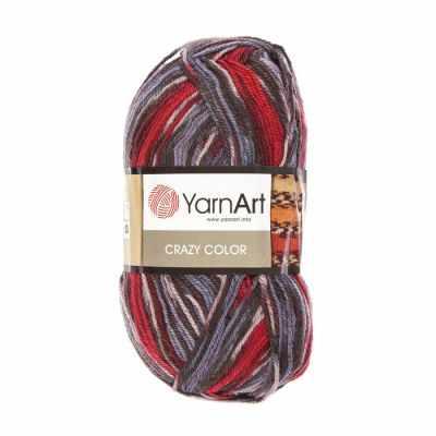 Пряжа YarnArt Пряжа YarnArt Crazy Color Цвет.164 Сине-красно-чёрный меланж