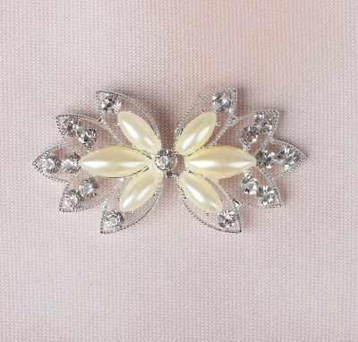 2610594 Декоративная застёжка с камнями, цвет белый - Швейная фурнитура