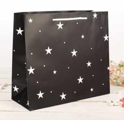 2749739 Пакет подарочный Звездочки, черный, люкс