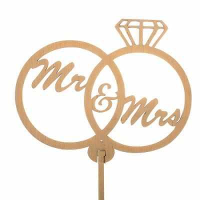 Украшение для выпечки - 2885894 Топпер «Свадебные кольца Mr&Mrs», натуральный