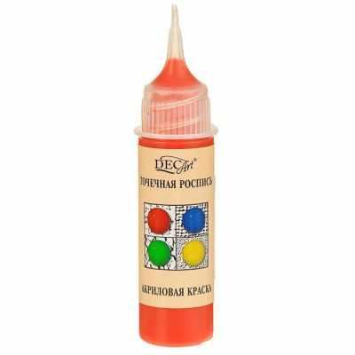 3113424 Краска акриловая 20мл для точечной росписи Пике DecArt Оранжевая