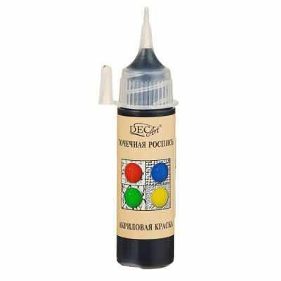 3113428 Краска акриловая 20мл для точечной росписи Пике DecArt Черная