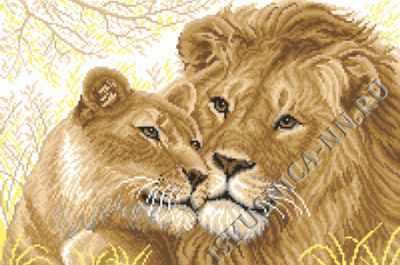 Фото - Набор для вышивания Искусница м8132 Львица и Лев лев и львица