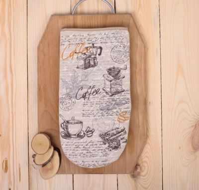 2515490 Рукавица для духовки Кофейное тема полулён шелкография