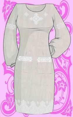 КБС/пл/-14 Заготовка для вышивки платья (Каролинка) - Вышиванки «Каролинка»