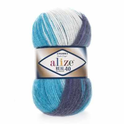 Пряжа Alize Пряжа Alize ANGORA REAL 40 BATIK Цвет.4003 Фиолетово-голубой