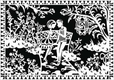 Вытынанки Вытынанка 30107 Премиум набор 2 в 1: Свидание в саду + Бабочка в цветах